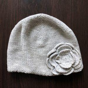 OLD NAVY Grey Heather Knit Beanie w/ Flower Detail